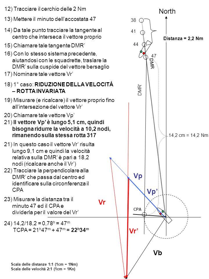 12) Tracciare il cerchio delle 2 Nm North 13) Mettere il minuto dellaccostata 47 38 41 44 14) Da tale punto tracciare la tangente al centro che inters