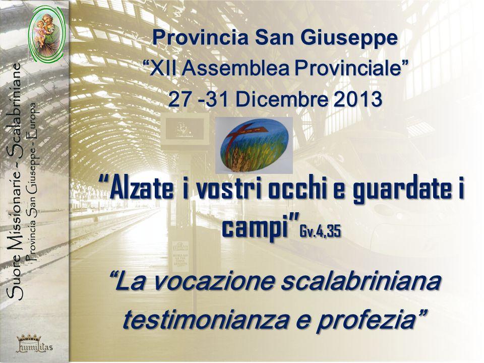 Alzate i vostri occhi e guardate i campi Gv.4,35 La vocazione scalabriniana testimonianza e profezia Provincia San Giuseppe XII Assemblea Provinciale 27 -31 Dicembre 2013