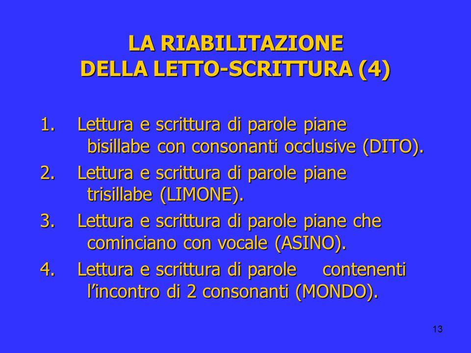 13 LA RIABILITAZIONE DELLA LETTO-SCRITTURA (4) 1. Lettura e scrittura di parole piane bisillabe con consonanti occlusive (DITO). 2. Lettura e scrittur