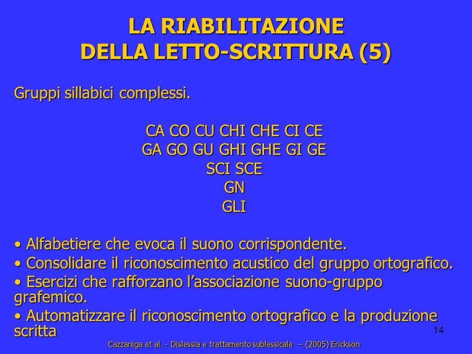 14 LA RIABILITAZIONE DELLA LETTO-SCRITTURA (5) Gruppi sillabici complessi. CA CO CU CHI CHE CI CE GA GO GU GHI GHE GI GE SCI SCE GNGLI Alfabetiere che