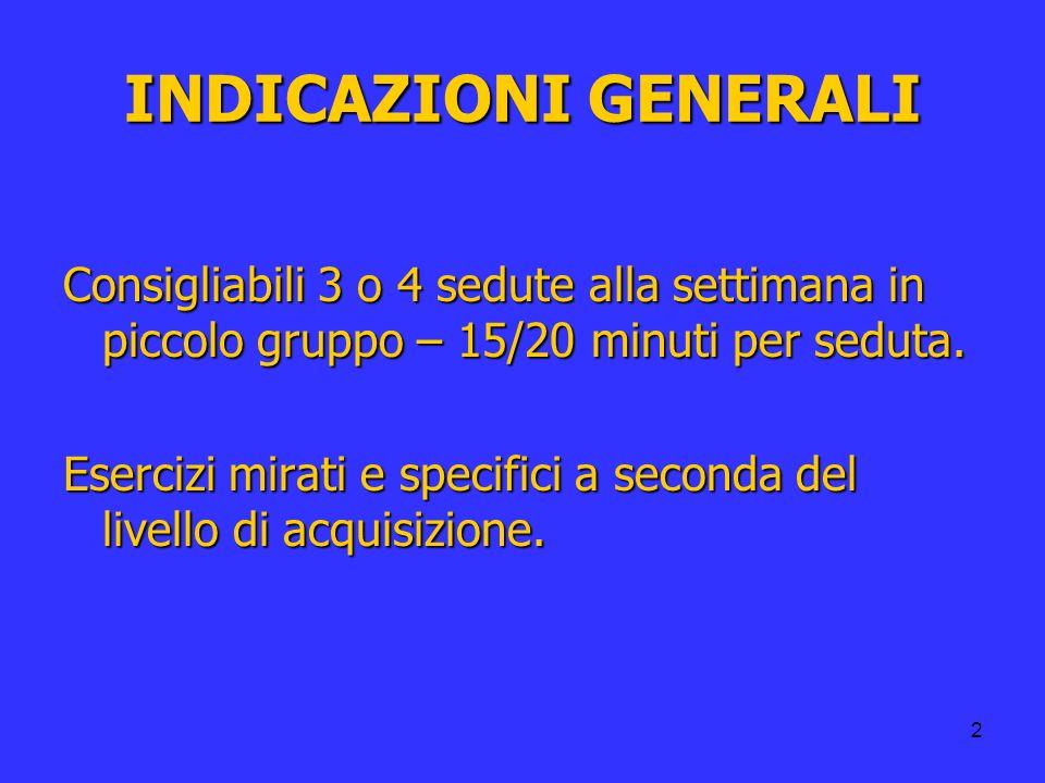 2 INDICAZIONI GENERALI Consigliabili 3 o 4 sedute alla settimana in piccolo gruppo – 15/20 minuti per seduta. Esercizi mirati e specifici a seconda de