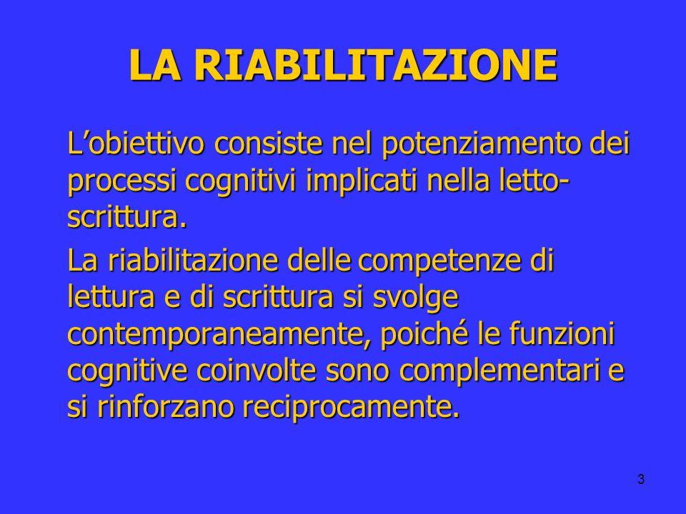 3 LA RIABILITAZIONE Lobiettivo consiste nel potenziamento dei processi cognitivi implicati nella letto- scrittura. La riabilitazione delle competenze
