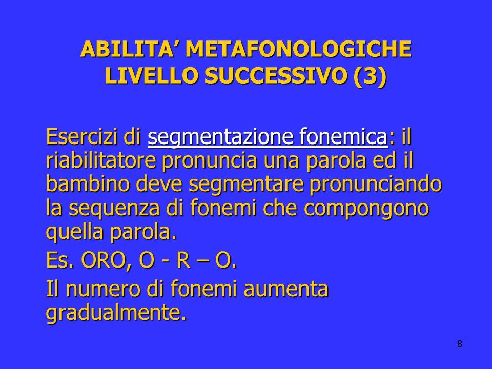 8 ABILITA METAFONOLOGICHE LIVELLO SUCCESSIVO (3) Esercizi di segmentazione fonemica: il riabilitatore pronuncia una parola ed il bambino deve segmenta