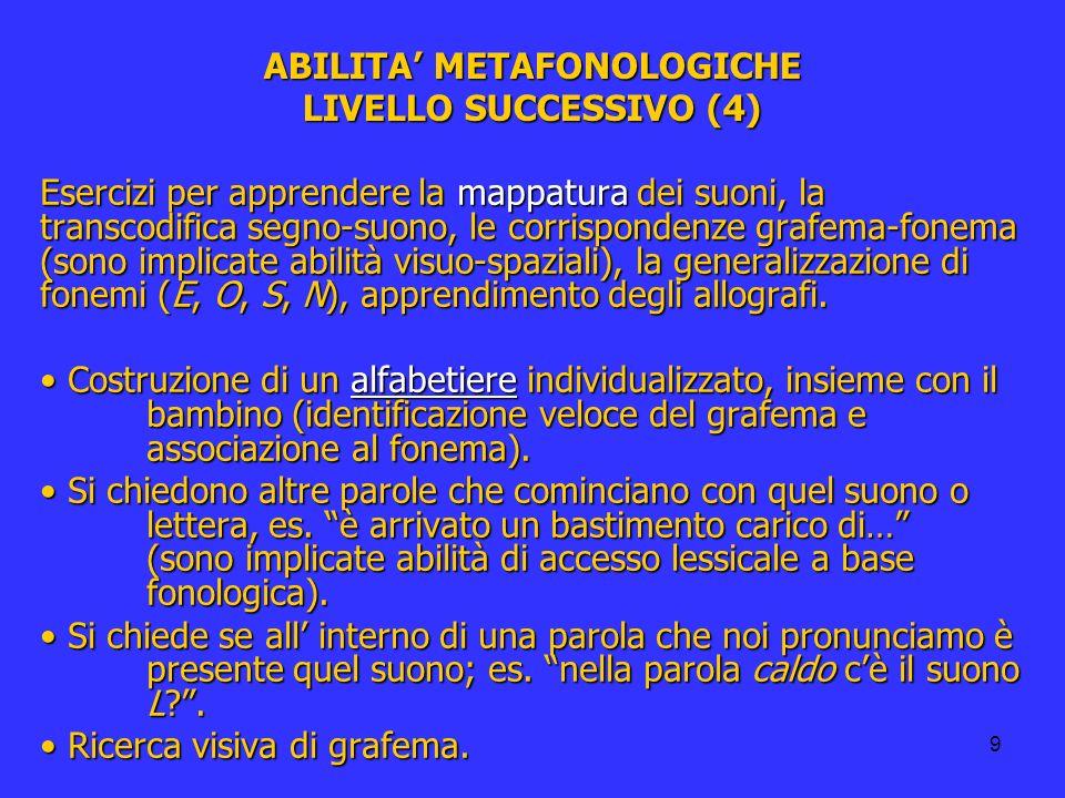 9 ABILITA METAFONOLOGICHE LIVELLO SUCCESSIVO (4) Esercizi per apprendere la mappatura dei suoni, la transcodifica segno-suono, le corrispondenze grafe