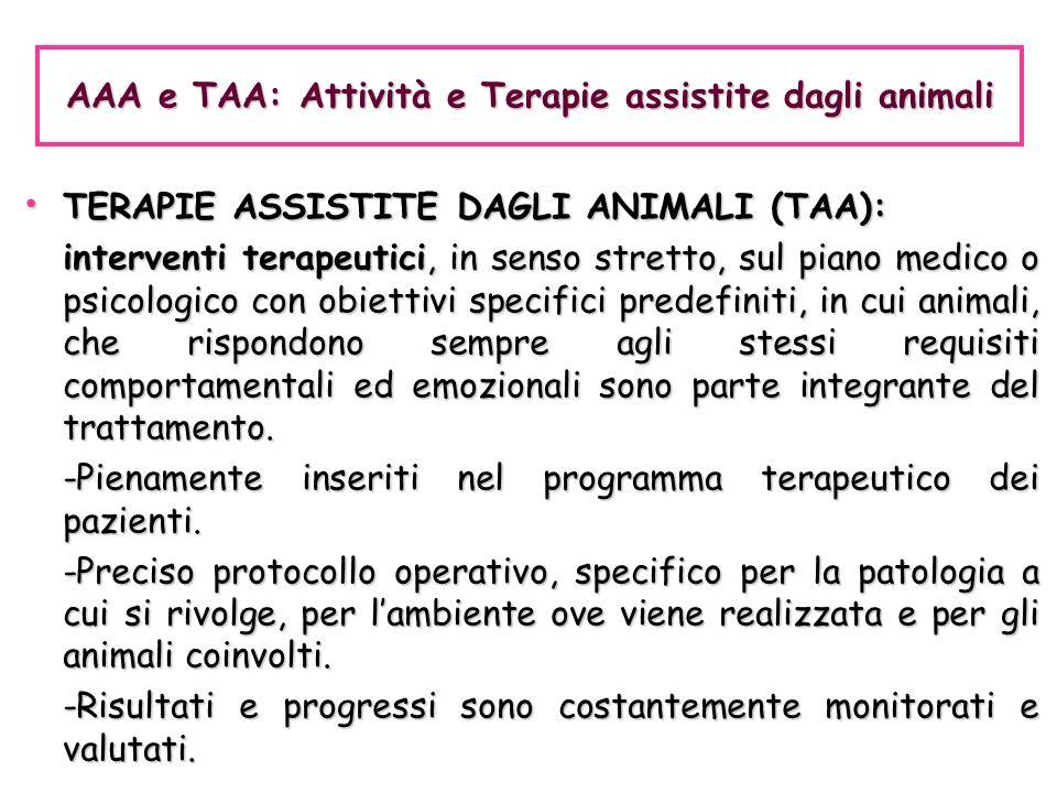 TERAPIE ASSISTITE DAGLI ANIMALI (TAA): TERAPIE ASSISTITE DAGLI ANIMALI (TAA): interventi terapeutici, in senso stretto, sul piano medico o psicologico