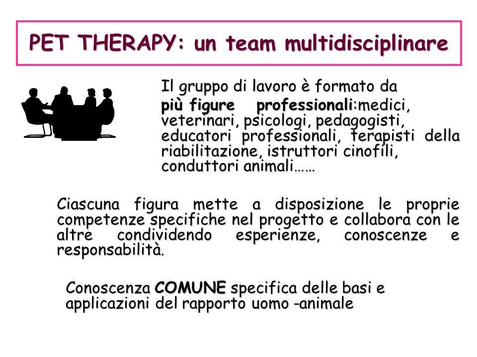 Il gruppo di lavoro è formato da più figureprofessionali:medici, veterinari, psicologi, pedagogisti, educatori professionali, terapisti della riabilit