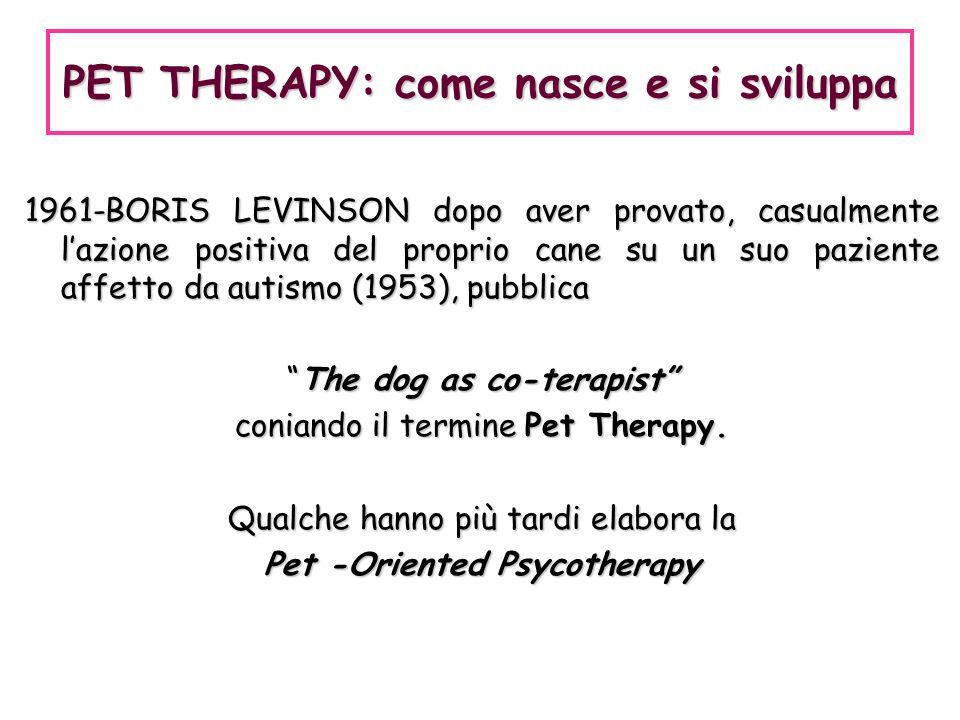 1961-BORIS LEVINSON dopo aver provato, casualmente lazione positiva del proprio cane su un suo paziente affetto da autismo (1953), pubblica The dog as