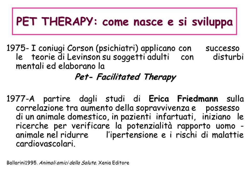 1975- I coniugi Corson (psichiatri) applicano con successo le teorie di Levinson su soggetti adulti con disturbi mentali ed elaborano la Pet- Facilita