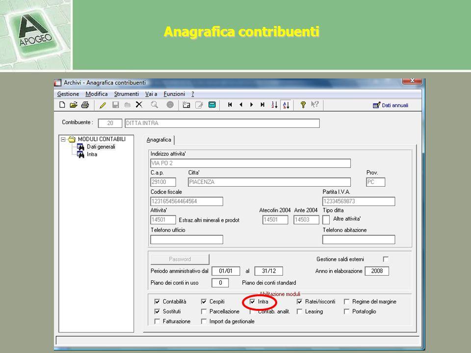 Anagrafica contribuenti In anagrafica contribuenti – il contribuente deve essere abilitato alla gestione dellIntrastat