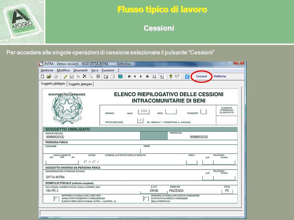 Cessioni (i passaggi sono gli stessi in caso di acquisti) Il frontespizio è strutturato su due pagine video, che identificano i dati del soggetto obbl