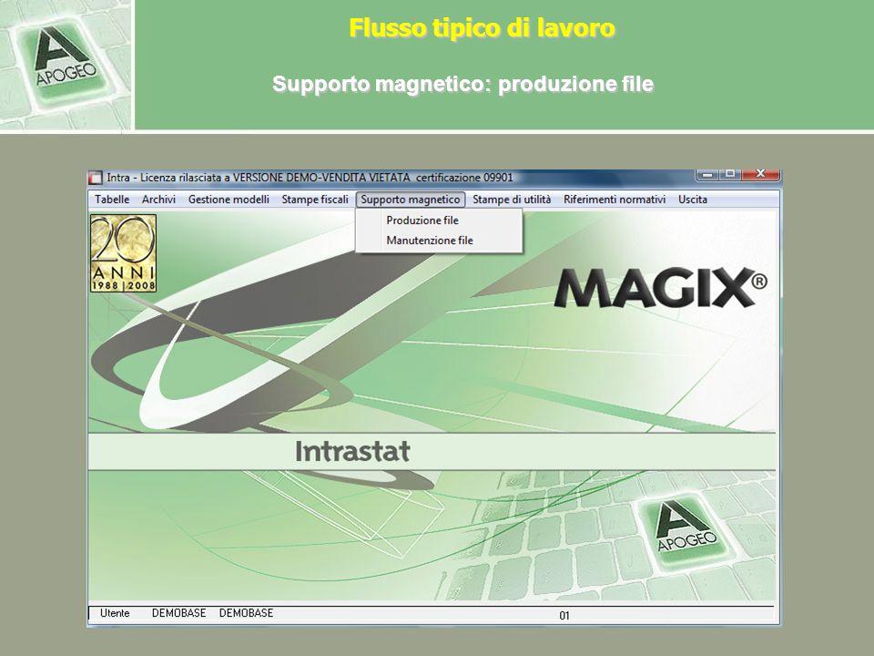 Supporto magnetico: produzione file Per produrre il file scambi.cee da consegnare allAgenzia delle dogane, in Anagrafica contribuenti deve essere pres