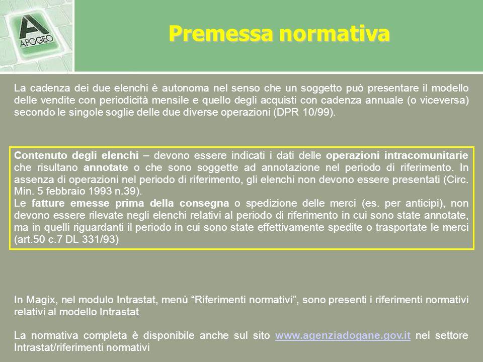 Periodo di riferimento e termine di presentazione dei modelli INTRA Non si considerano le operazioni poste in essere con S.Marino (Ris. Min. 23 Aprile