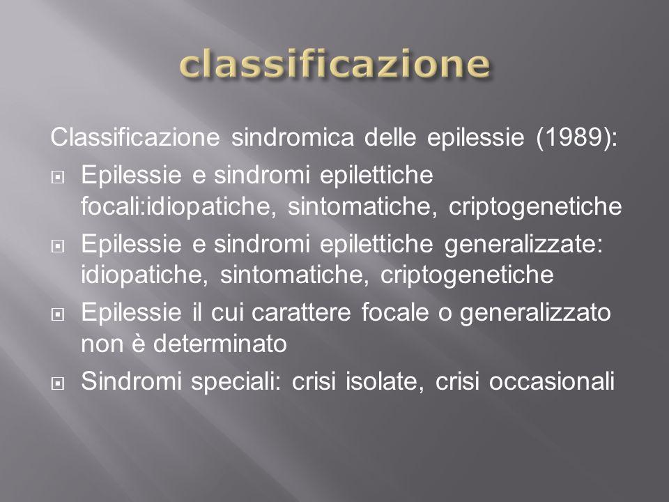 Classificazione sindromica delle epilessie (1989): Epilessie e sindromi epilettiche focali:idiopatiche, sintomatiche, criptogenetiche Epilessie e sind