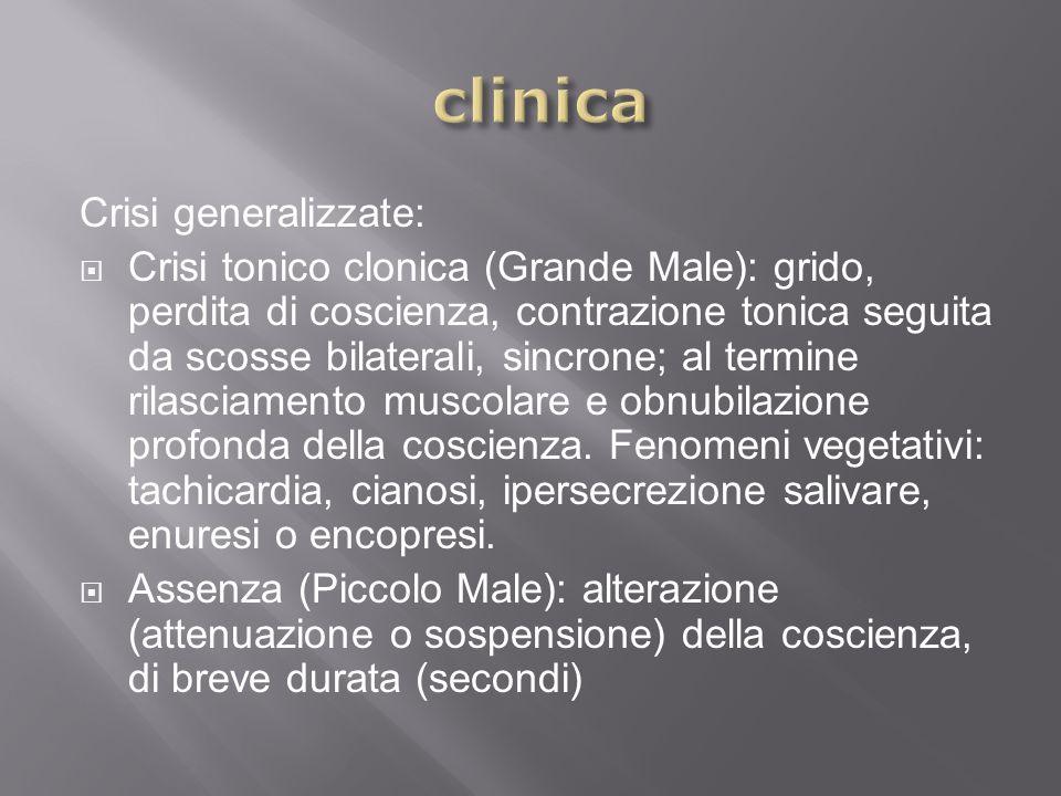 Crisi generalizzate: Crisi tonico clonica (Grande Male): grido, perdita di coscienza, contrazione tonica seguita da scosse bilaterali, sincrone; al te