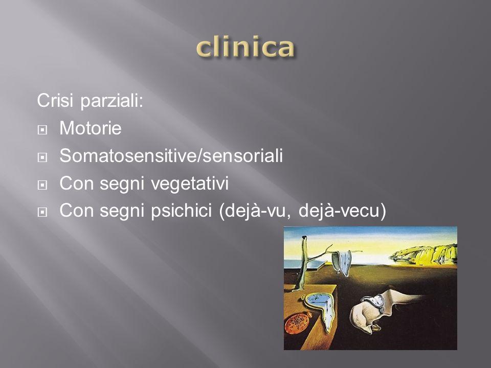 Crisi parziali: Motorie Somatosensitive/sensoriali Con segni vegetativi Con segni psichici (dejà-vu, dejà-vecu)