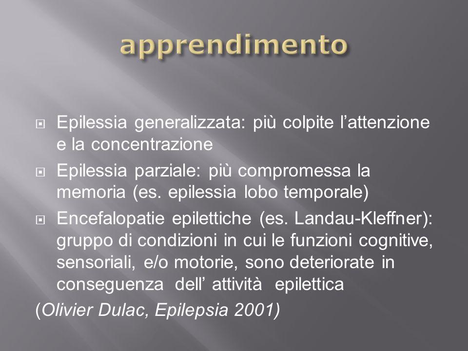 Epilessia generalizzata: più colpite lattenzione e la concentrazione Epilessia parziale: più compromessa la memoria (es. epilessia lobo temporale) Enc
