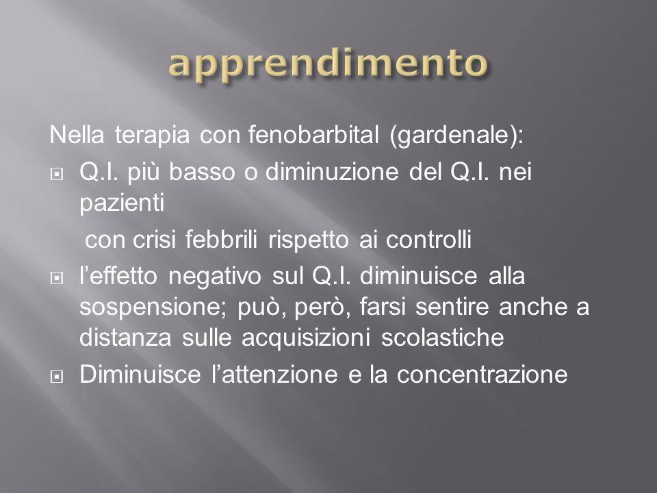 Nella terapia con fenobarbital (gardenale): Q.I. più basso o diminuzione del Q.I. nei pazienti con crisi febbrili rispetto ai controlli leffetto negat