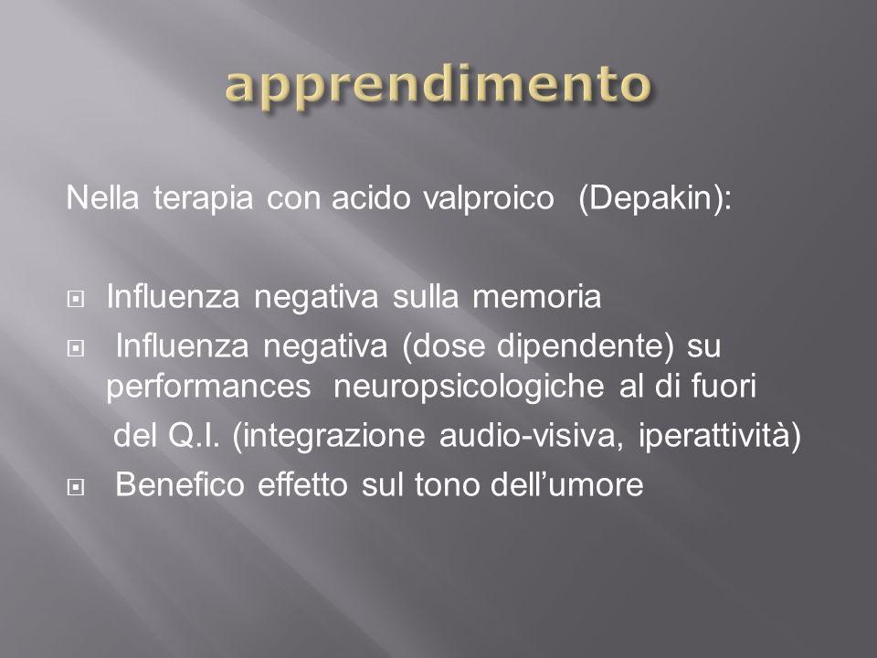 Nella terapia con acido valproico (Depakin): Influenza negativa sulla memoria Influenza negativa (dose dipendente) su performances neuropsicologiche a