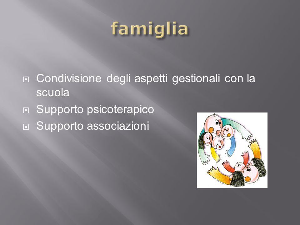 Condivisione degli aspetti gestionali con la scuola Supporto psicoterapico Supporto associazioni
