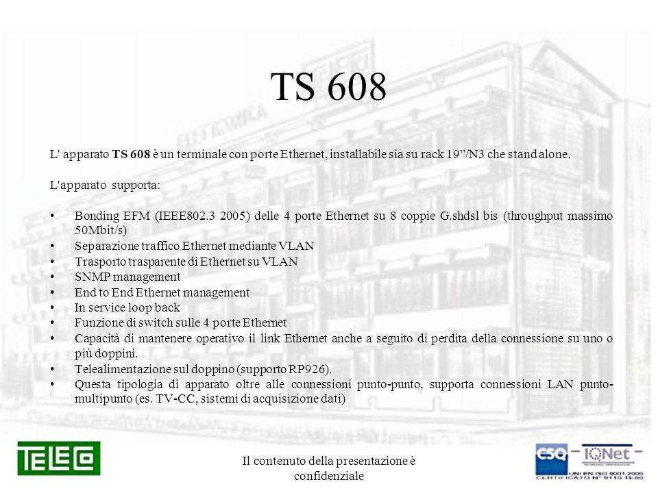 Il contenuto della presentazione è confidenziale TS 608 L' apparato TS 608 è un terminale con porte Ethernet, installabile sia su rack 19/N3 che stand