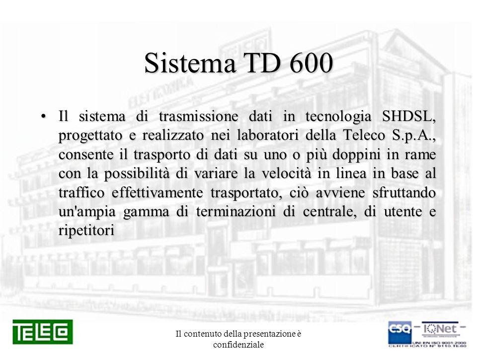 Il contenuto della presentazione è confidenziale Sistema TD 600 Il sistema di trasmissione dati in tecnologia SHDSL, progettato e realizzato nei labor