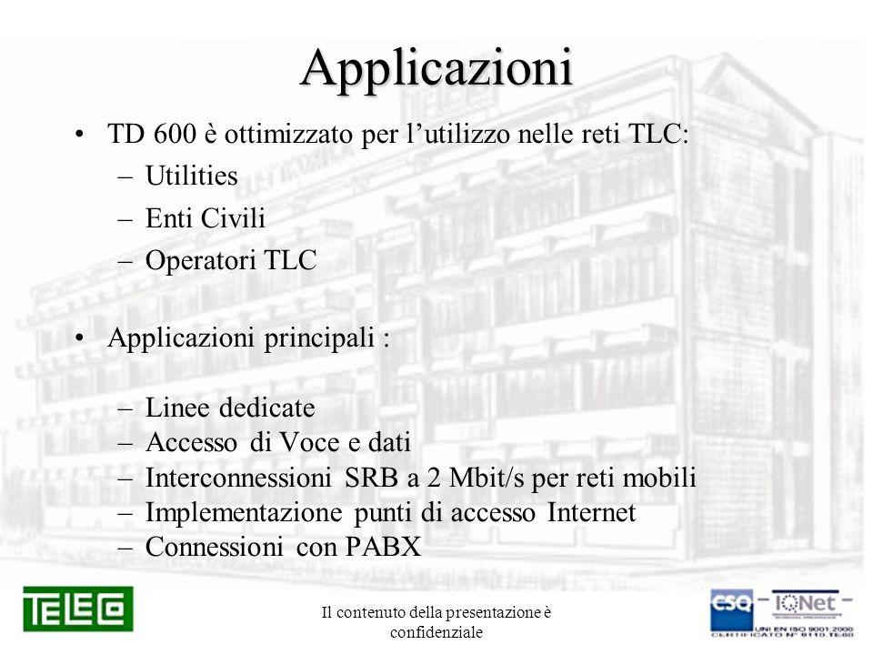 Il contenuto della presentazione è confidenziale Applicazioni TD 600 è ottimizzato per lutilizzo nelle reti TLC: –Utilities –Enti Civili –Operatori TL
