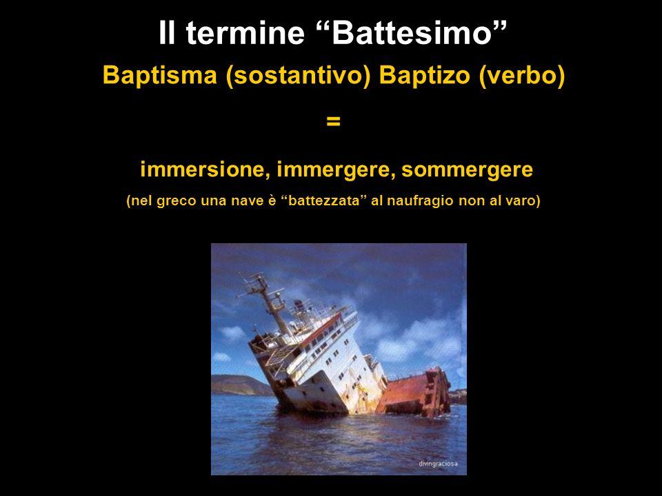 Il termine Battesimo Baptisma (sostantivo) Baptizo (verbo) = immersione, immergere, sommergere (nel greco una nave è battezzata al naufragio non al va
