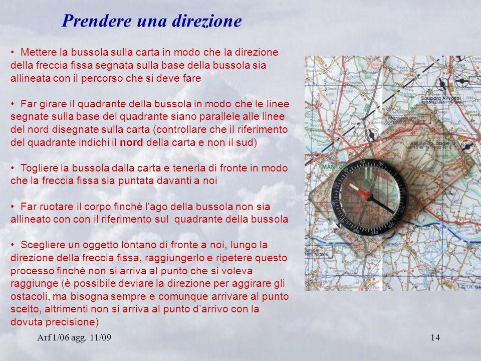 Arf 1/06 agg. 11/0914 Prendere una direzione Mettere la bussola sulla carta in modo che la direzione della freccia fissa segnata sulla base della buss