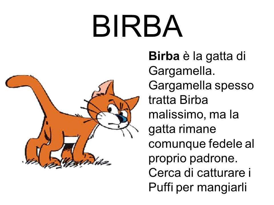 BIRBA Birba è la gatta di Gargamella. Gargamella spesso tratta Birba malissimo, ma la gatta rimane comunque fedele al proprio padrone. Cerca di cattur