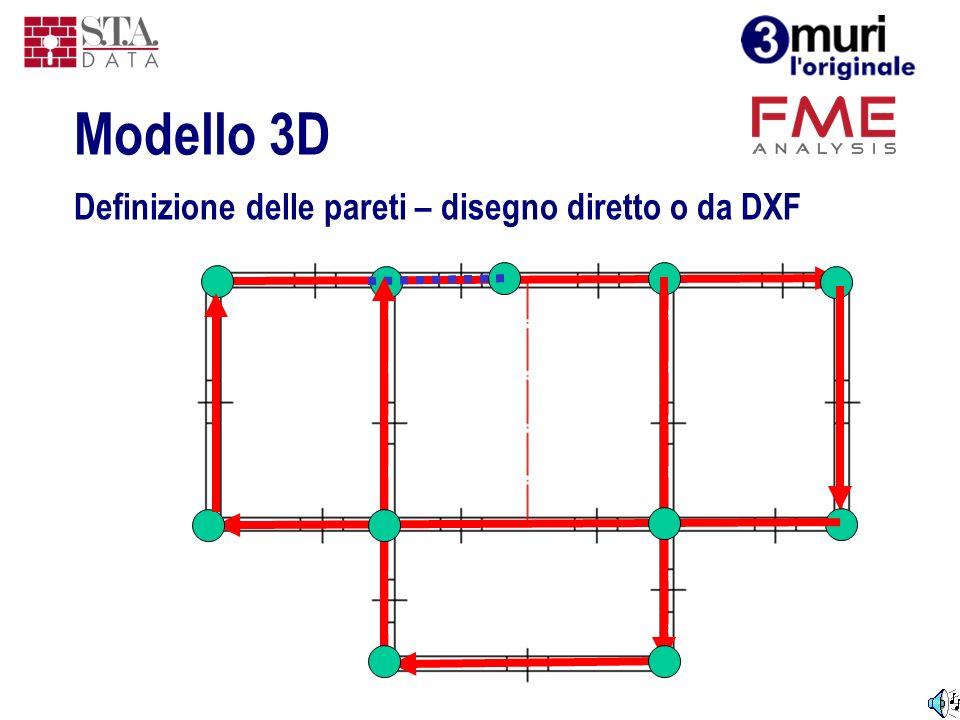 Definizione delle pareti – disegno diretto o da DXF Modello 3D