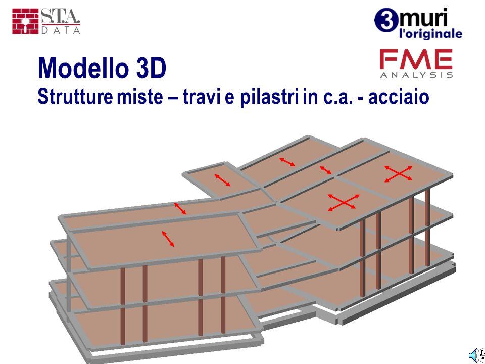Strutture miste – travi e pilastri in c.a. - acciaio Modello 3D
