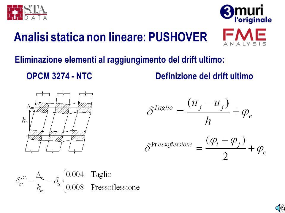 Definizione del drift ultimoOPCM 3274 - NTC Eliminazione elementi al raggiungimento del drift ultimo: Analisi statica non lineare: PUSHOVER
