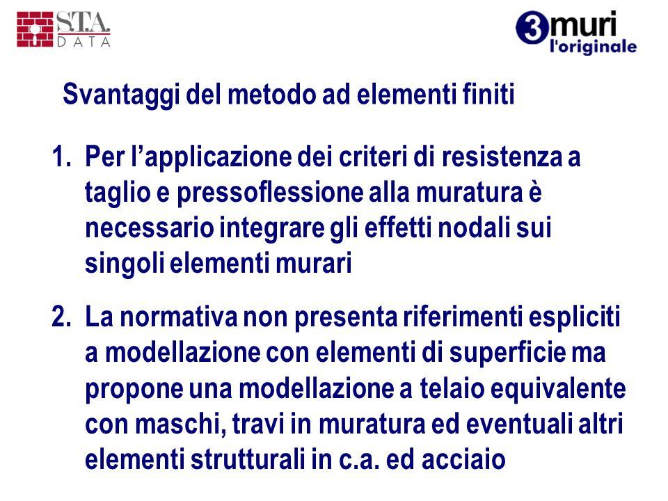 1.Per lapplicazione dei criteri di resistenza a taglio e pressoflessione alla muratura è necessario integrare gli effetti nodali sui singoli elementi