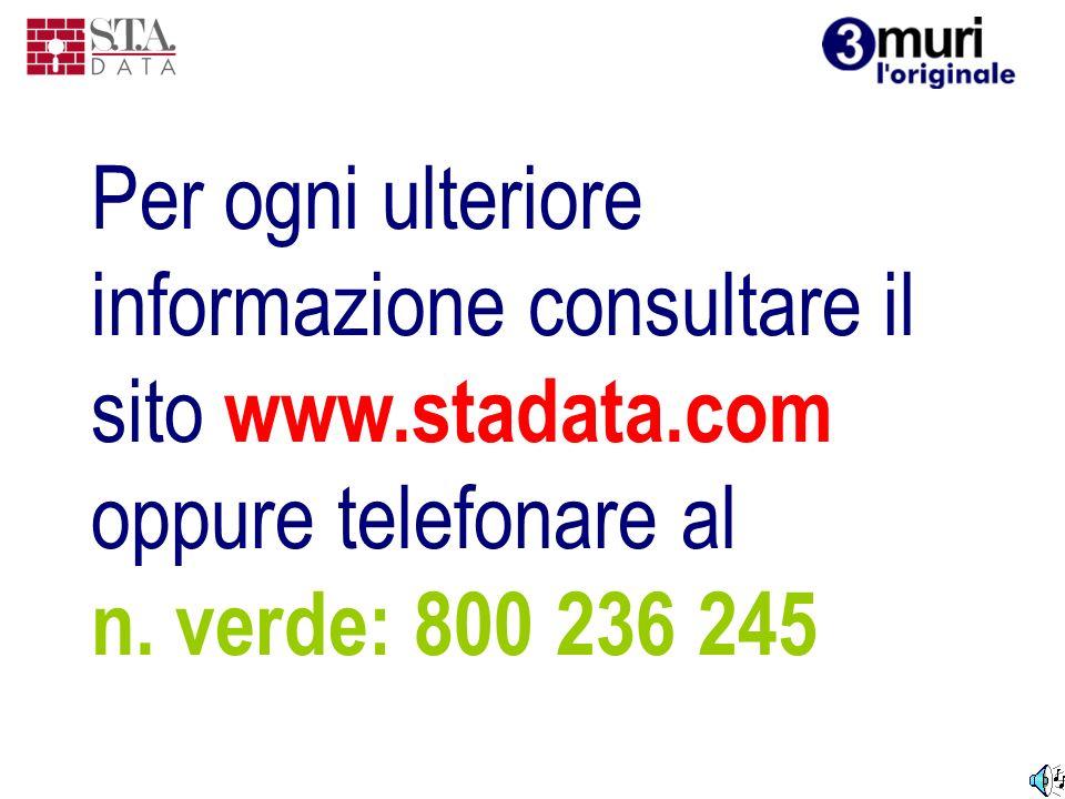 Per ogni ulteriore informazione consultare il sito www.stadata.com oppure telefonare al n. verde: 800 236 245