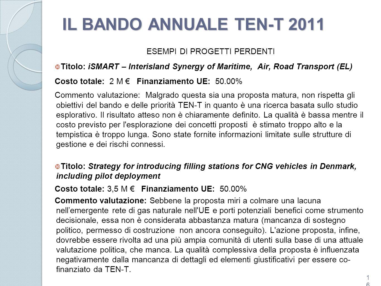 IL BANDO ANNUALE TEN-T 2011 ESEMPI DI PROGETTI PERDENTI Titolo: iSMART – Interisland Synergy of Maritime, Air, Road Transport (EL) Costo totale: 2 M F