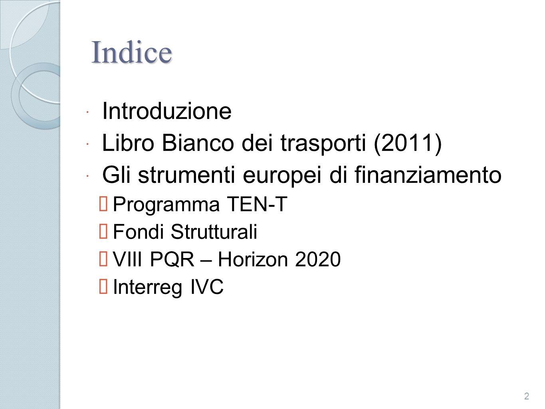 Indice Introduzione Libro Bianco dei trasporti (2011) Gli strumenti europei di finanziamento Programma TEN-T Fondi Strutturali VIII PQR – Horizon 2020