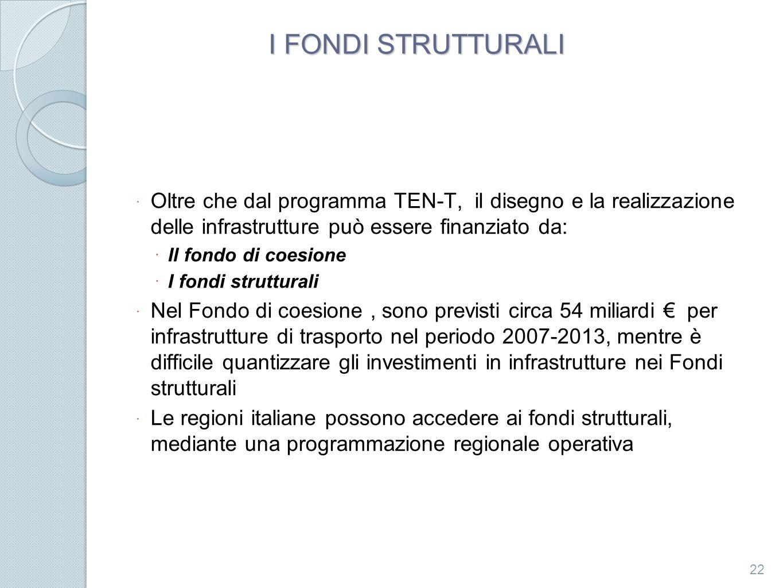 I FONDI STRUTTURALI Oltre che dal programma TEN-T, il disegno e la realizzazione delle infrastrutture può essere finanziato da: Il fondo di coesione I