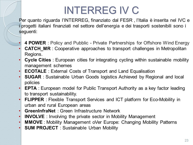 INTERREG IV C 23 Per quanto riguarda lINTERREG, finanziato dal FESR, lItalia è inserita nel IVC e i progetti italiani finanziati nel settore dellenerg