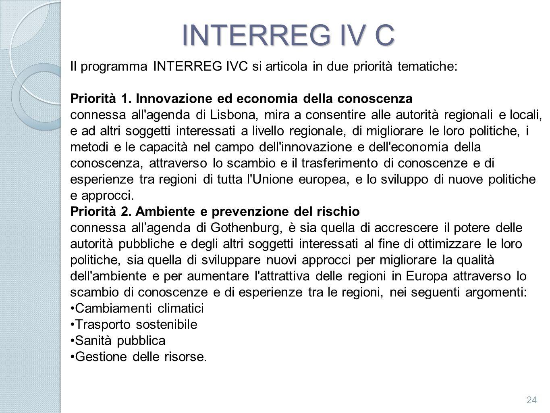 INTERREG IV C 24 Il programma INTERREG IVC si articola in due priorità tematiche: Priorità 1. Innovazione ed economia della conoscenza connessa all'ag