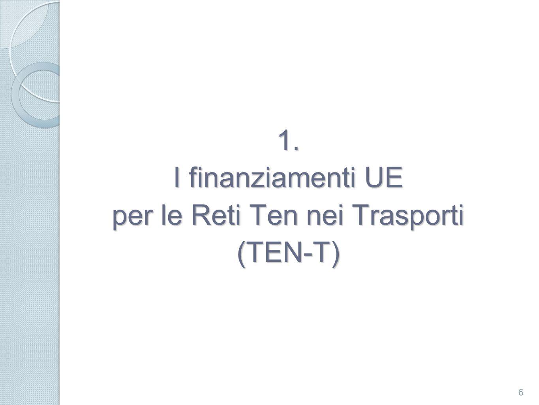 Programma TEN-T Nel 2007 è stato promulgato un nuovo Regolamento finanziario (Regolamento 680/2007 del Parlamento Europeo e del Consiglio del 20 Giugno 2007) per la TEN-T Il Regolamento stabilisce i principi generali per la concessione di un contributo finanziario della Comunità nel settore delle reti trans-europee dei trasporti e dell energia.