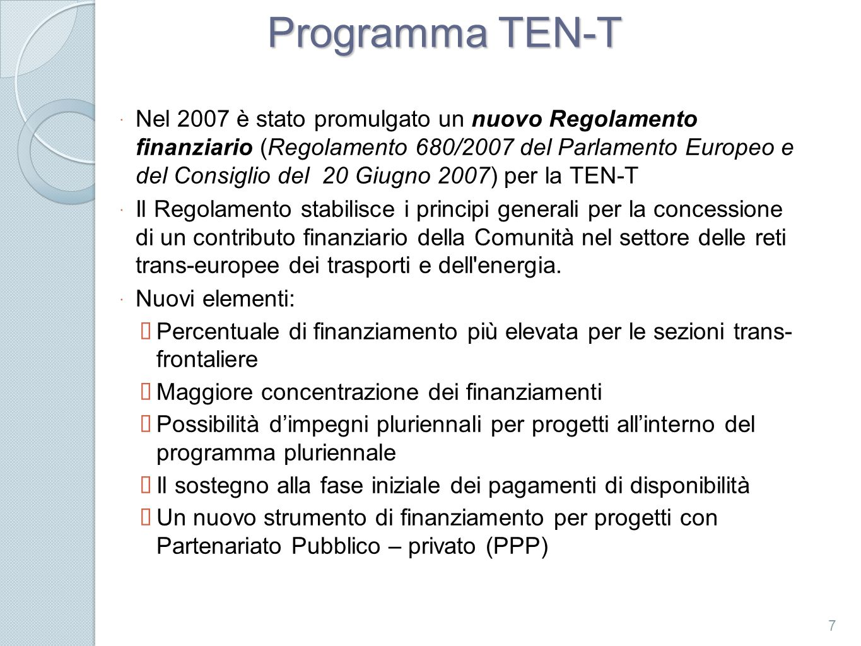 Programma TEN-T Nel 2007 è stato promulgato un nuovo Regolamento finanziario (Regolamento 680/2007 del Parlamento Europeo e del Consiglio del 20 Giugn