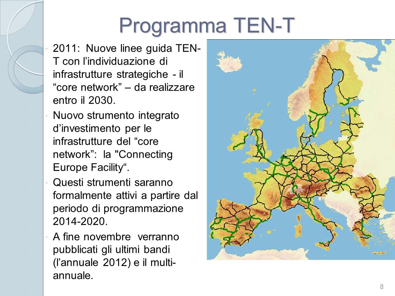 IL BANDO ANNUALE TEN-T 2012 La proposta della Commissione Europea Il finanziamento dellUE non puo superare le seguenti percentuali: 1.