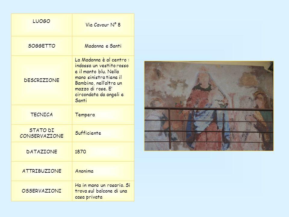LUOGO Via Cavour N° 8 SOGGETTOMadonna e Santi DESCRIZIONE La Madonna è al centro : indossa un vestito rosso e il manto blu. Nella mano sinistra tiene
