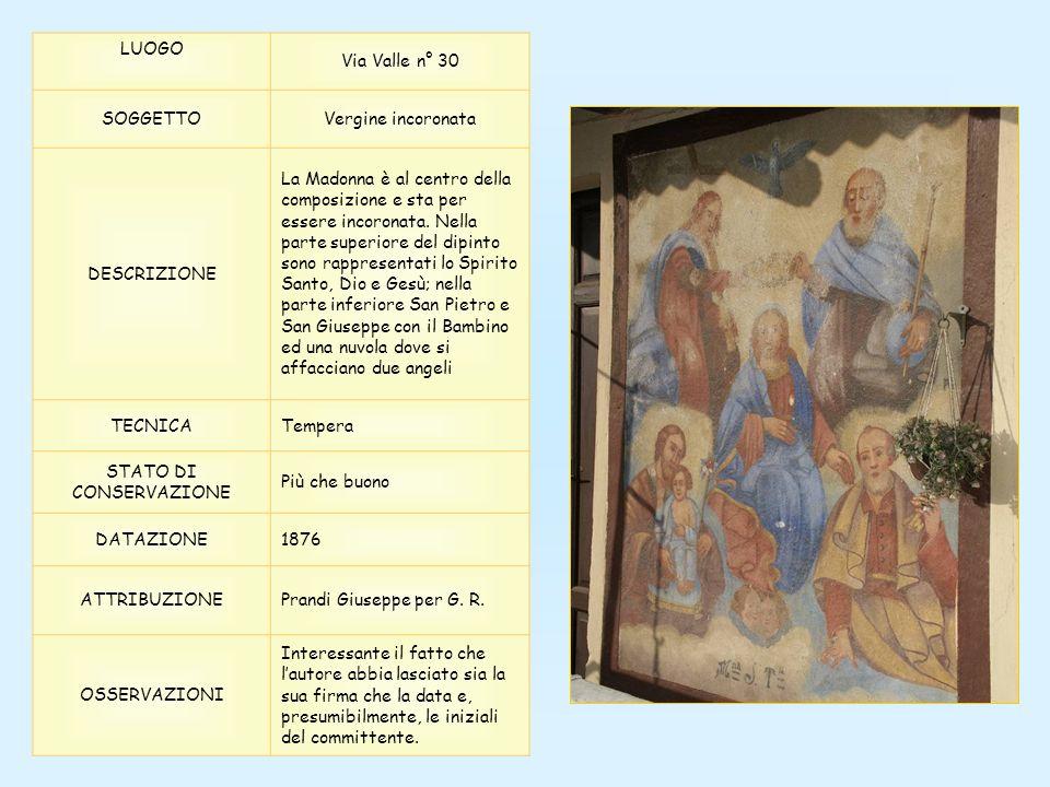 LUOGO Via Valle n° 30 SOGGETTOVergine incoronata DESCRIZIONE La Madonna è al centro della composizione e sta per essere incoronata. Nella parte superi