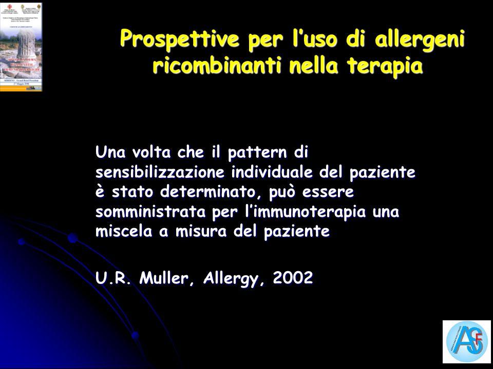 Prospettive per luso di allergeni ricombinanti nella terapia Prospettive per luso di allergeni ricombinanti nella terapia Una volta che il pattern di