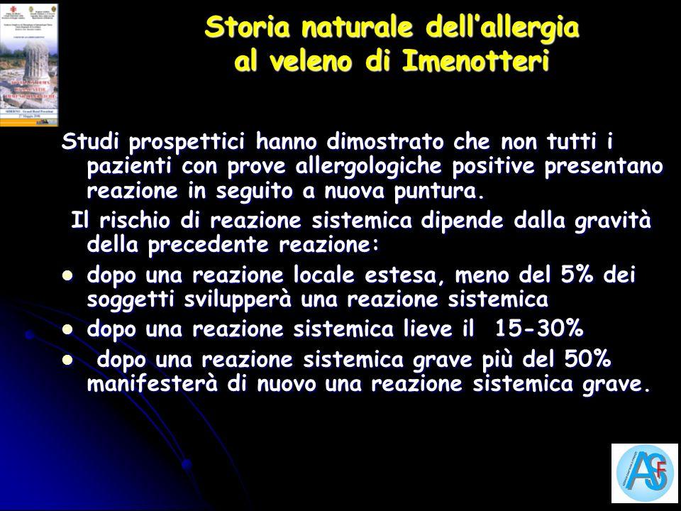 Storia naturale dellallergia al veleno di Imenotteri Studi prospettici hanno dimostrato che non tutti i pazienti con prove allergologiche positive pre