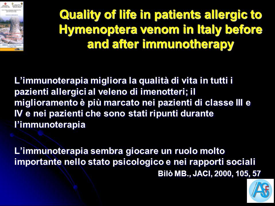 Quality of life in patients allergic to Hymenoptera venom in Italy before and after immunotherapy Limmunoterapia migliora la qualità di vita in tutti