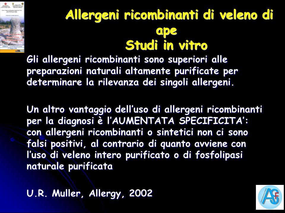 Allergeni ricombinanti di veleno di ape Studi in vitro Allergeni ricombinanti di veleno di ape Studi in vitro Gli allergeni ricombinanti sono superior