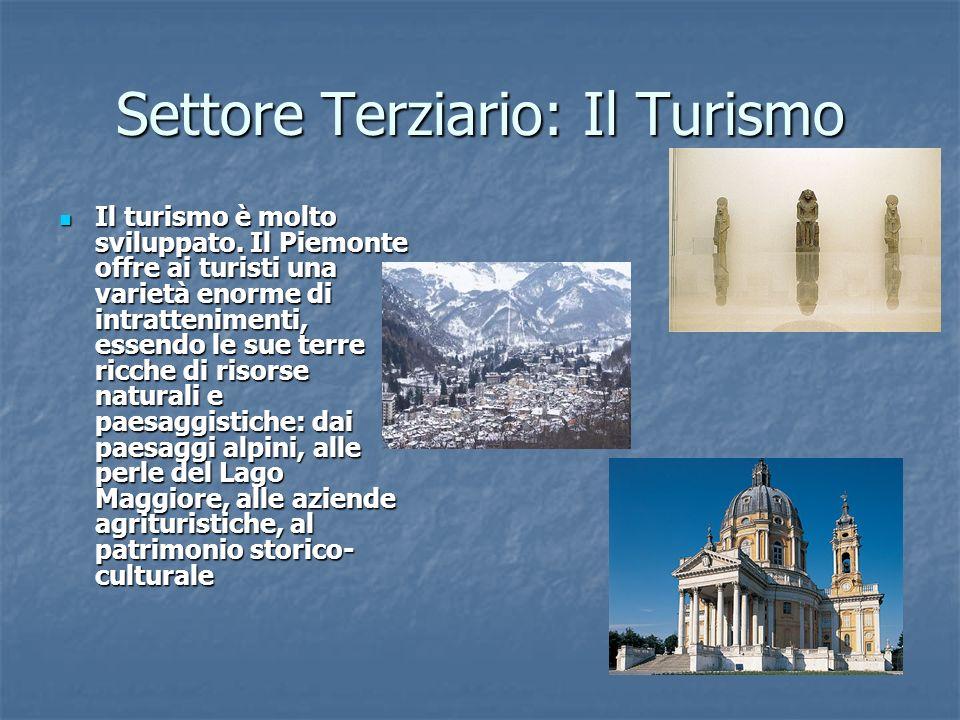 Settore Terziario: Il Turismo Il turismo è molto sviluppato. Il Piemonte offre ai turisti una varietà enorme di intrattenimenti, essendo le sue terre