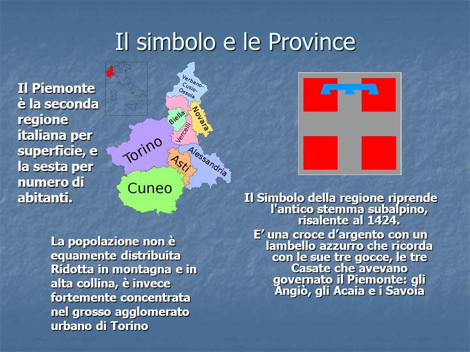 Il simbolo e le Province Il Simbolo della regione riprende l'antico stemma subalpino, risalente al 1424. E una croce dargento con un lambello azzurro